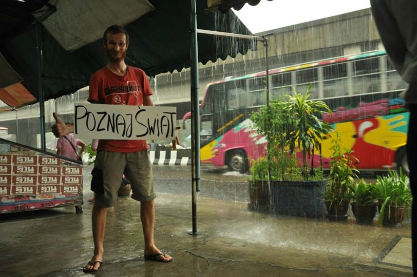 Karol Zientek, hitchhiking outside Bangkok