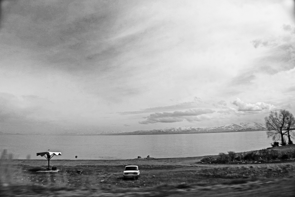 Passing by Sevan Lake on my way to Gavar town.